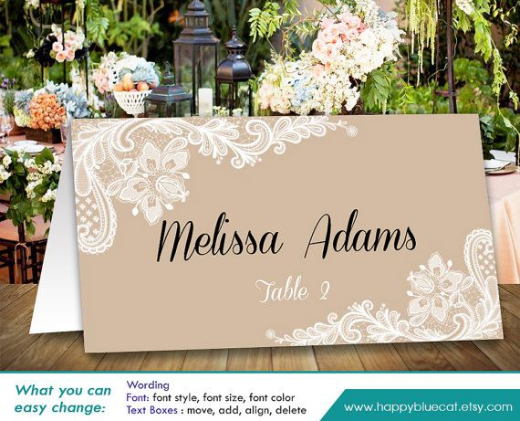 Free Fonts Used In Template Coneria Script Cinzel Print Your Own Wedding Place Cards With