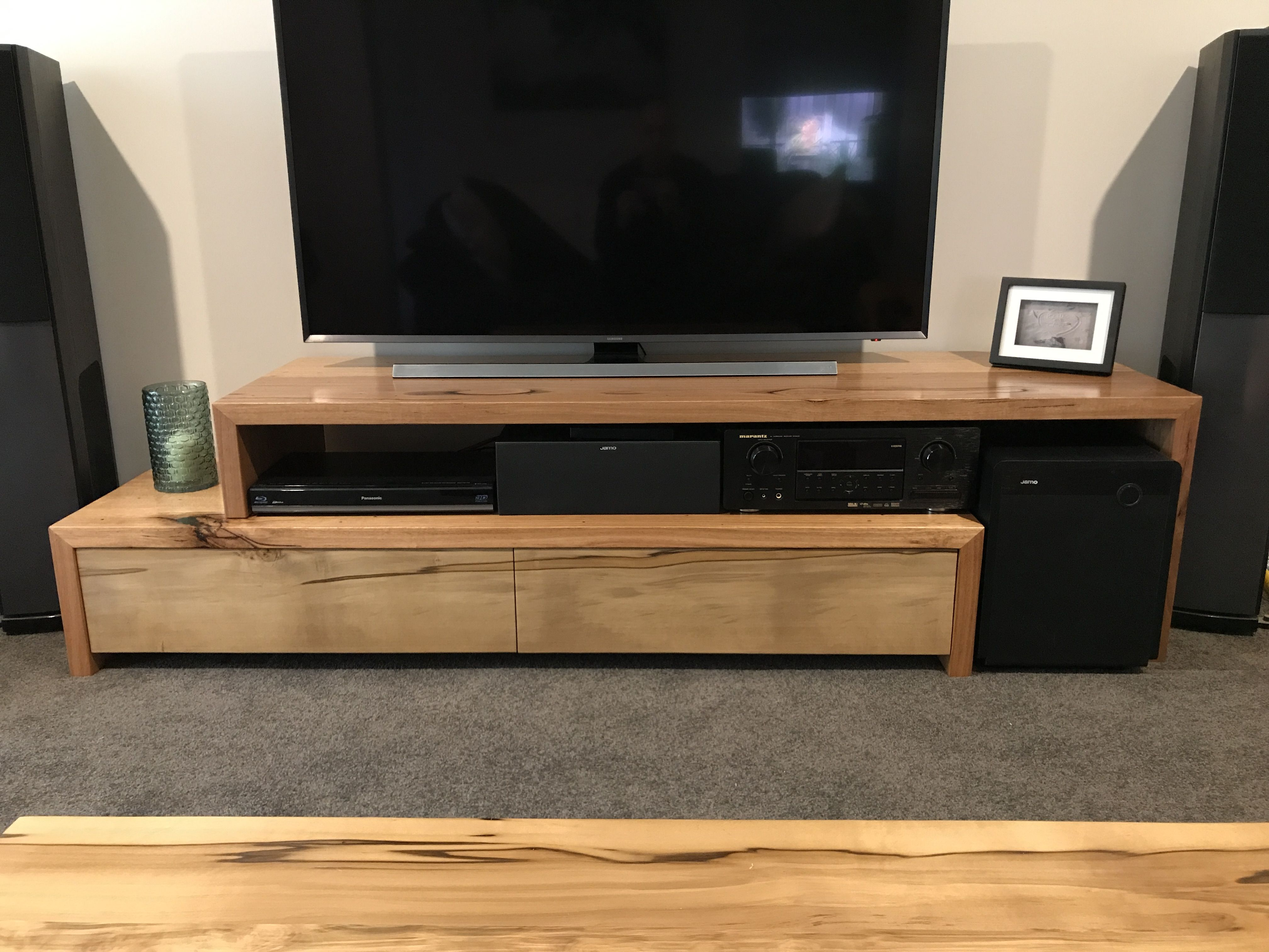 Recycled Vic Ash Tv Unit With Black Heart Sassafras Fronts  # Meuble Tele Long