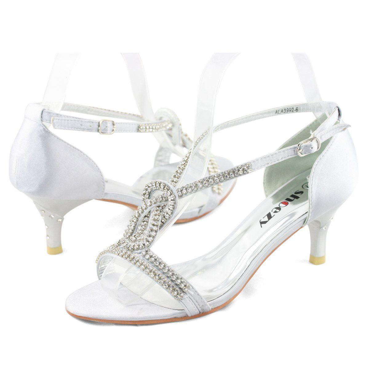 Amazon.com: Shoezy Womens Silver Satin Wedding Cross Strappy ...