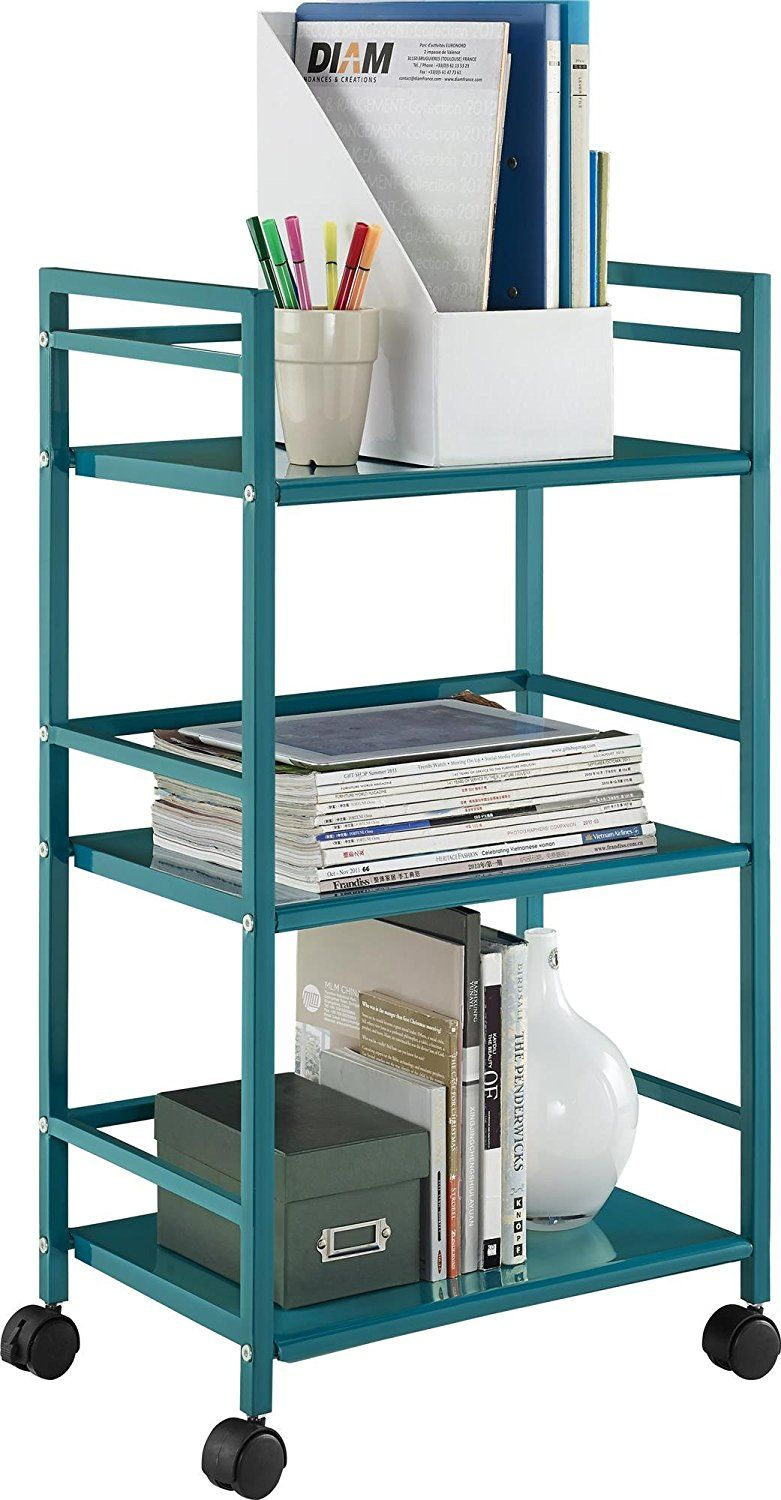 AmazonSmile: Altra Marshall 3 Shelf Metal Rolling Utility Cart, Teal ...