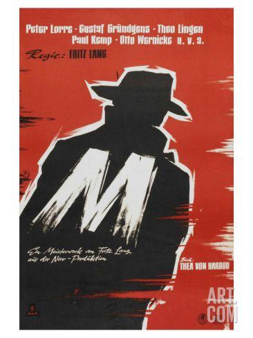 24x36 M Fritz Lang Vintage Movie Poster