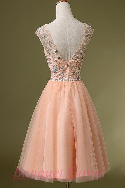 b5e7a3c1d86 Short Blush Pink Backless Beaded Bodice Cap Sleeves Lace Homecoming Prom Gown  Cocktail Dress For Teens