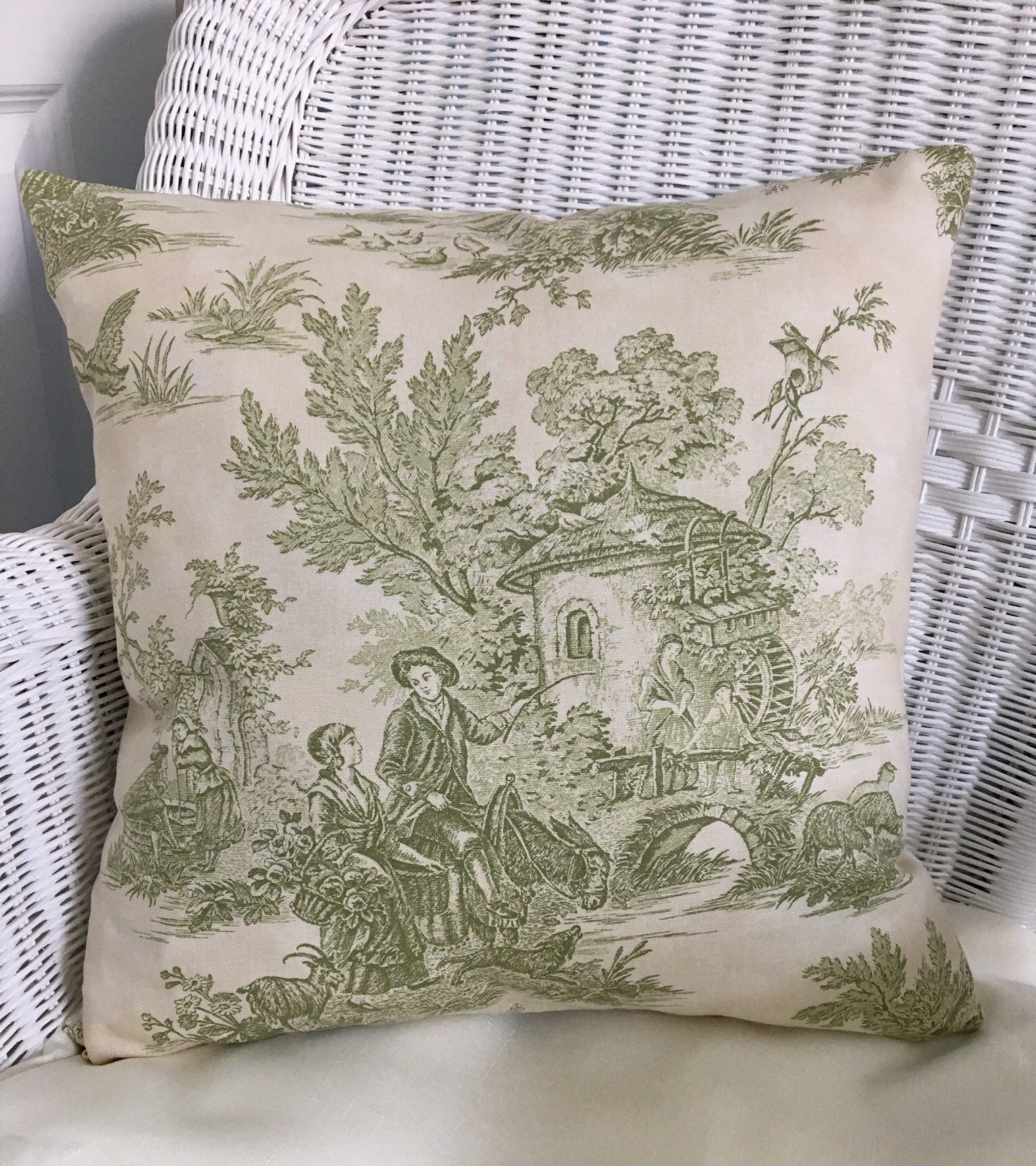 green toile throw pillow french country