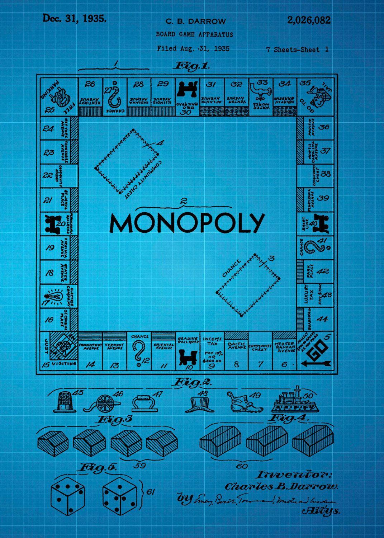 Monopoly patent 1935 blue blueprint design instant download monopoly patent 1935 blue blueprint design by chrissmithphotos malvernweather Image collections