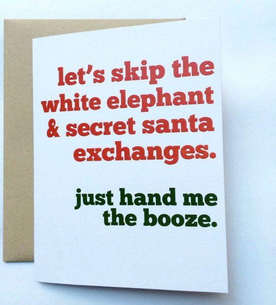 image relating to Secret Santa Cards Printable identify Magic formula Santa Card - White Elephant Card - Humorous Xmas