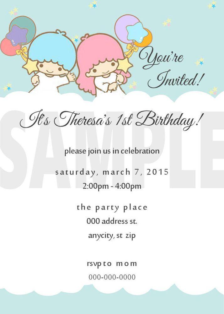 LITTLE TWIN STARS Sanrio Custom Printable Invitation Birthday Party ...