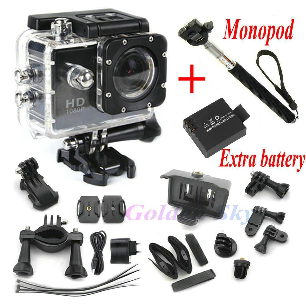 Full HD DVR Sport DV SJ4000 1080P Helmet Waterproof Camera 1.5inch Motor Mini DV 170 Wide Angle Two Battery + Monopod