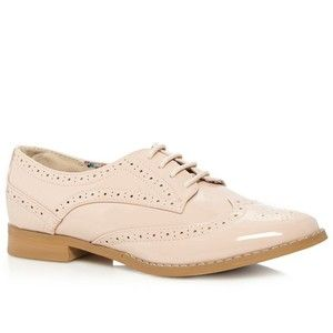 Pale pink patent lace up brogues $54