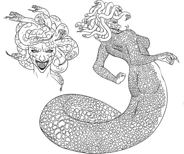 How To Draw Medusa Coloring Page Netart In 2020 Coloring Pages Drawings Medusa