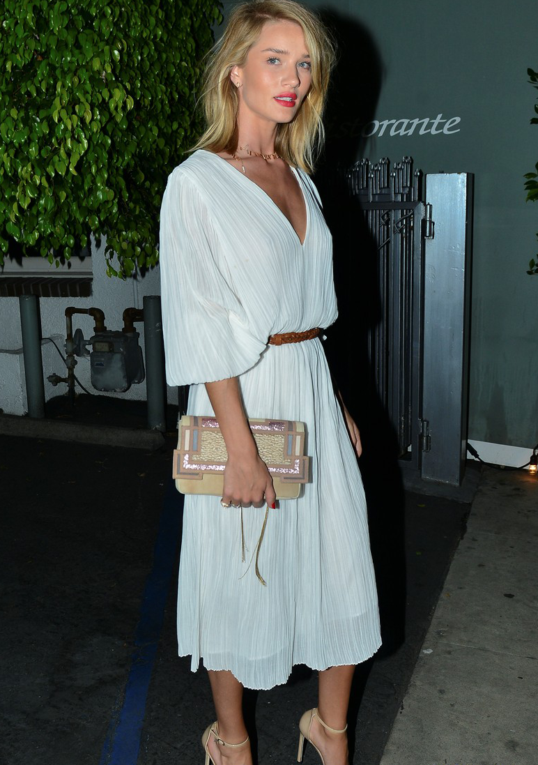 4/19/15 - Rosie Huntington-Whiteley out for dinner in Santa Monica.