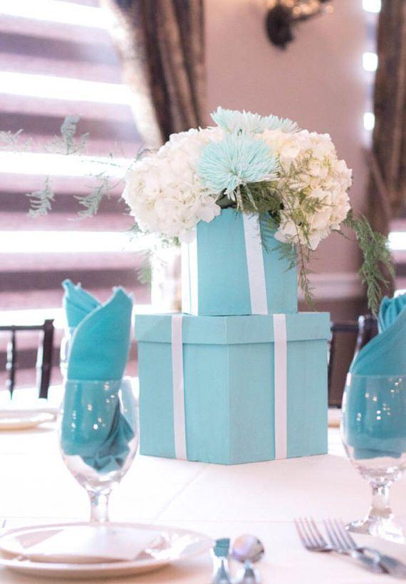 Custom Tiffany Blue Boxes Flower Centerpiece Holder Wedding Floral Centerpieces Flower Centerpieces Wedding Unique Wedding Flowers