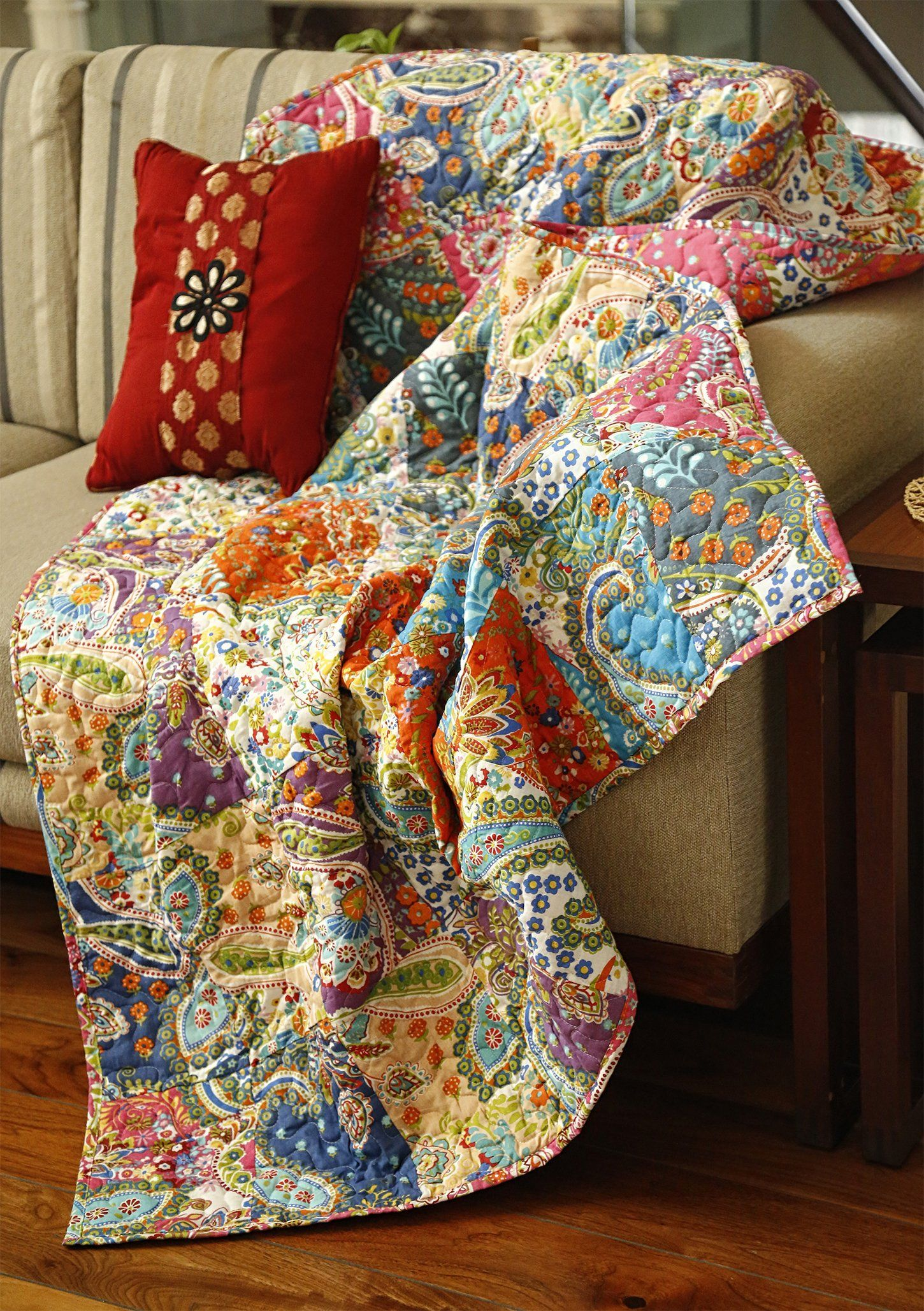 Decorative Sofa Throws Blankets Rajrang Multicolor Patchwork Quilt Vintage Indian Reversible