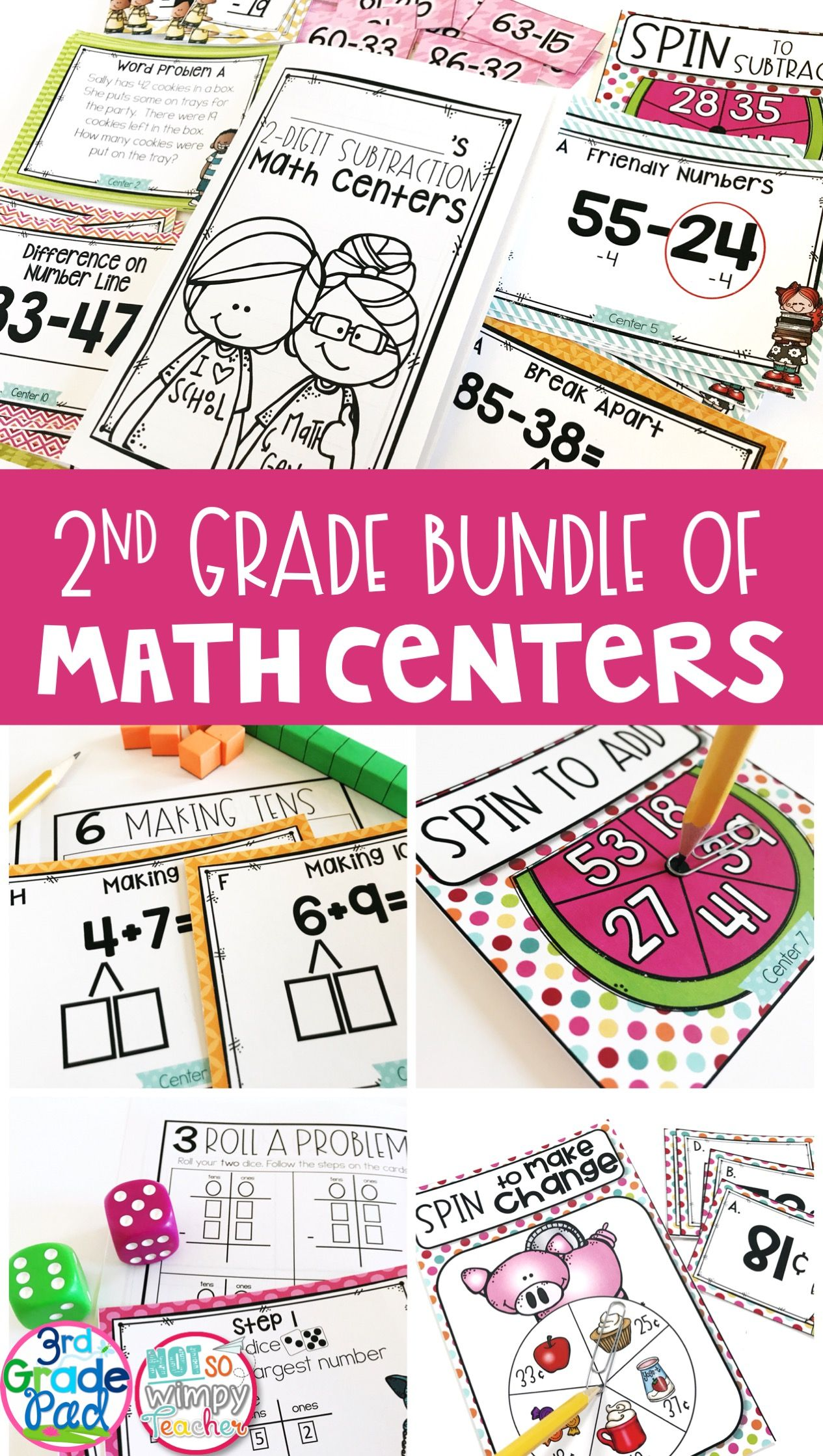 Second Grade Math Centers Bundle | Math skills, Fun activities and Maths
