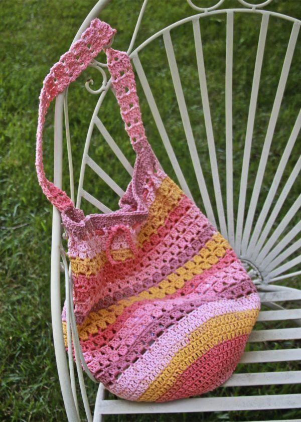 Boho Market Bag Free Crochet Pattern using Caron Cotton Cakes ...