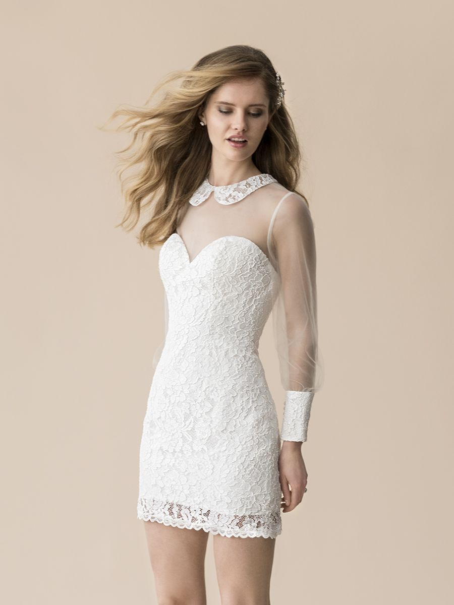 Moonlight tango alencon lace short sheath dress t casual bride