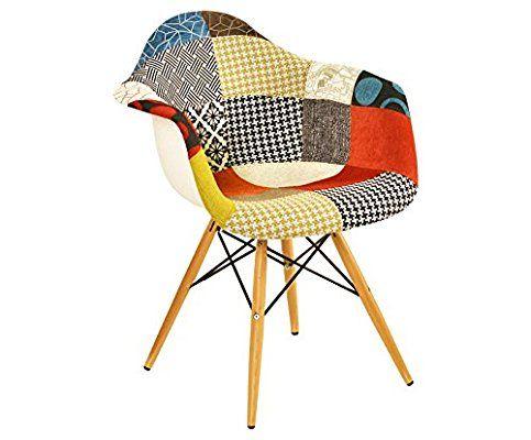 Sedia con braccioli in legno naturale e tessuto patchwork
