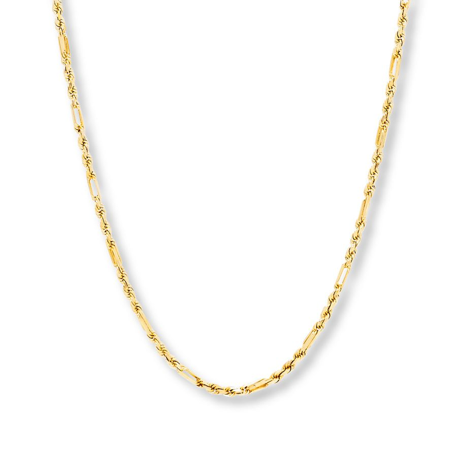 Milano Rope Chain Necklace 10k Yellow Gold Rope Chain Gold Gold Necklace