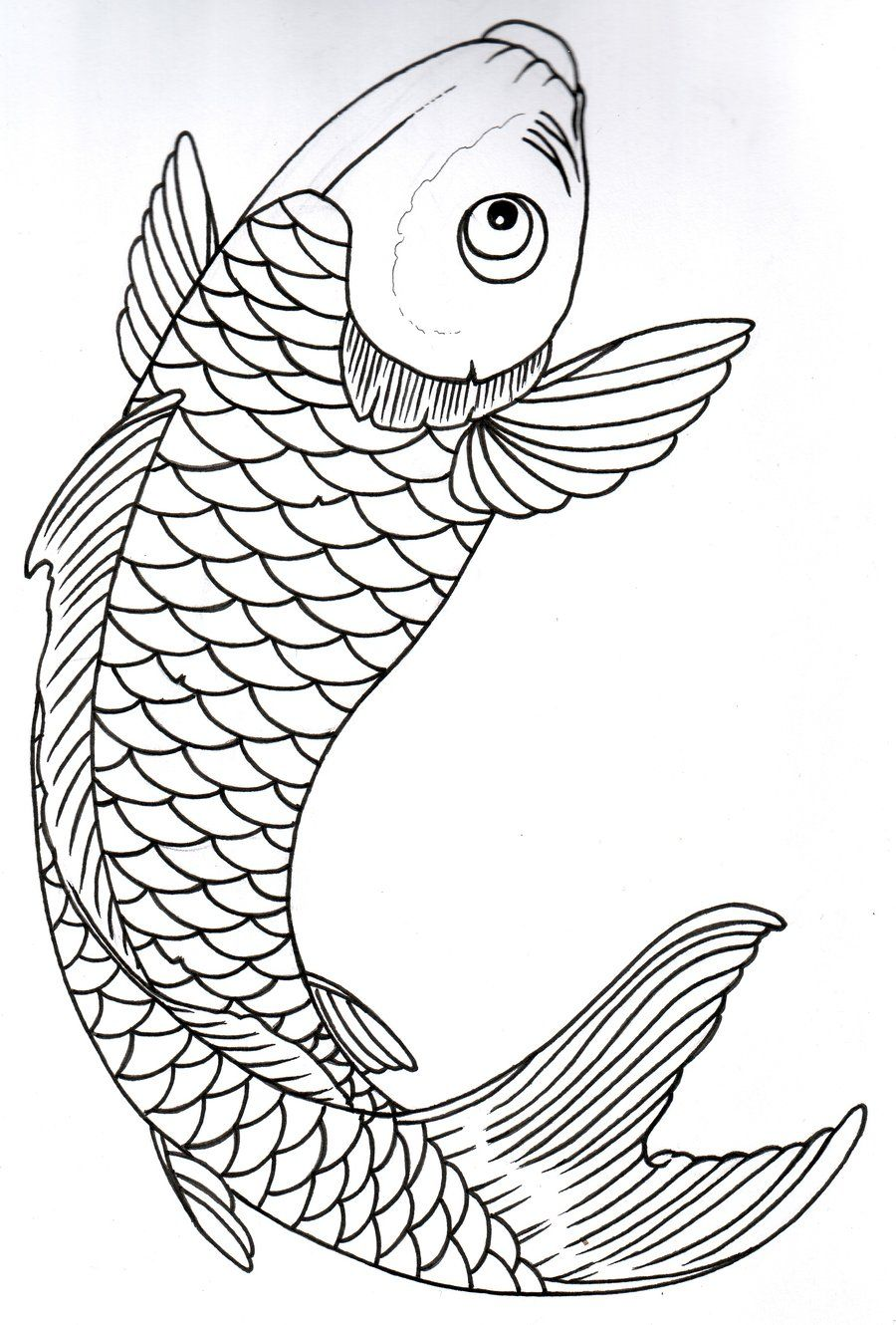 Koi fish tattoos outline google search drawings for Koi fish pond drawing
