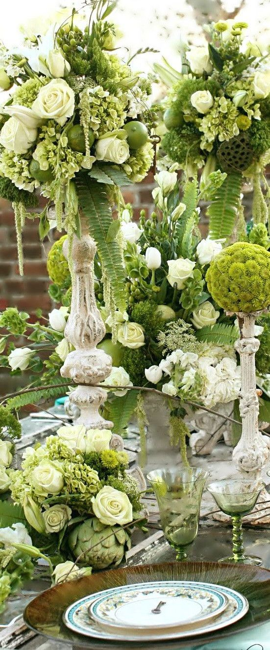 Fresh floral #Wedding tablescape & reception decor in subtle shades of Ivory & green x