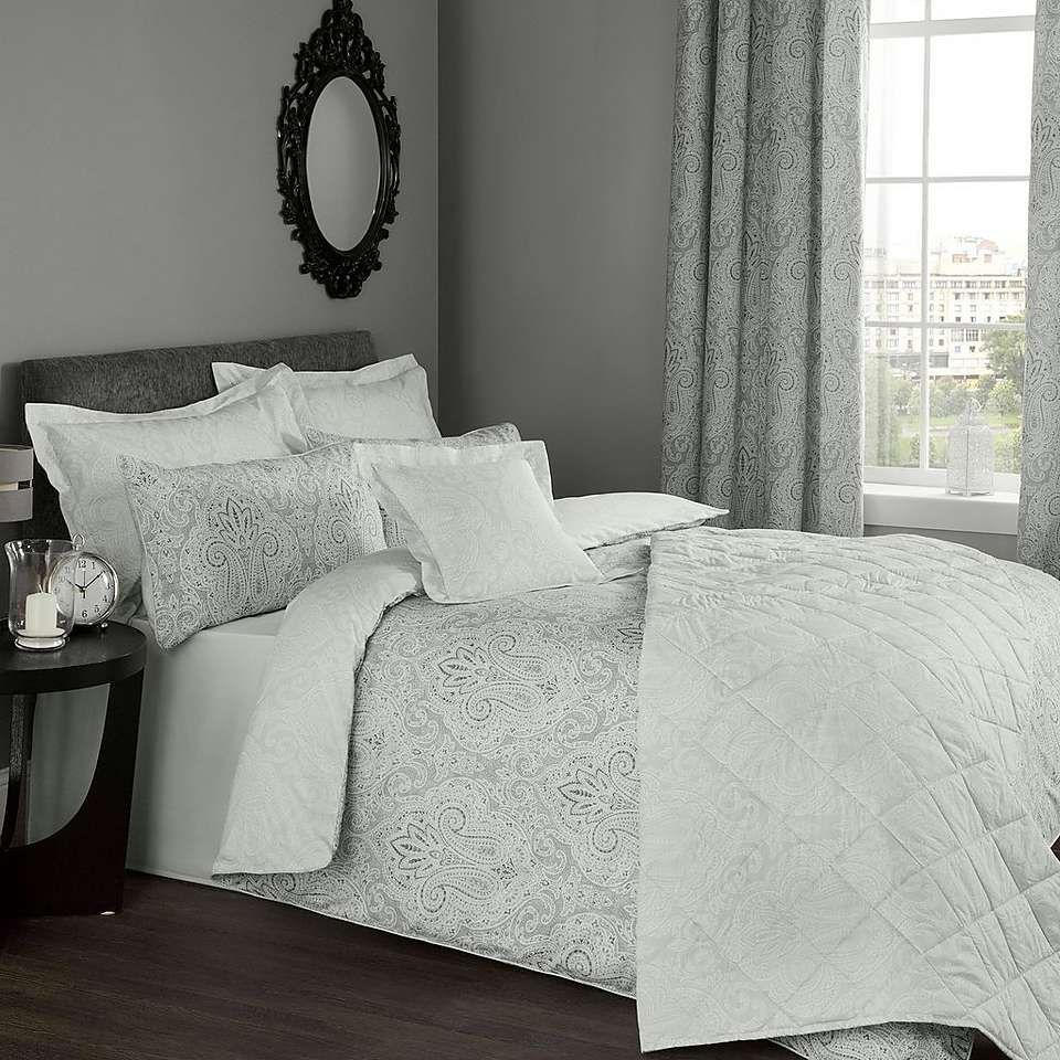India grey reversible duvet cover and pillowcase set grey bed