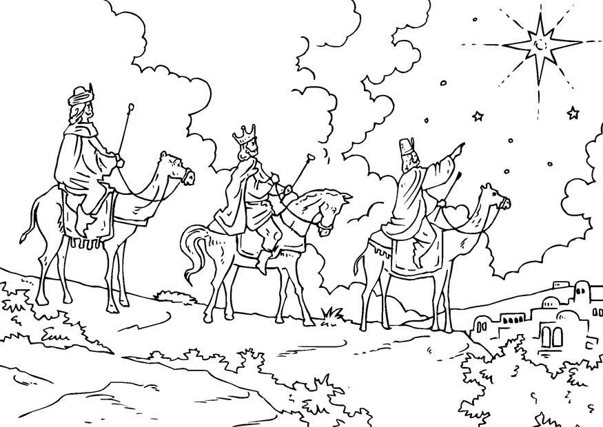 A Traditional Christmas Coloring Page Of The Three Wise Men