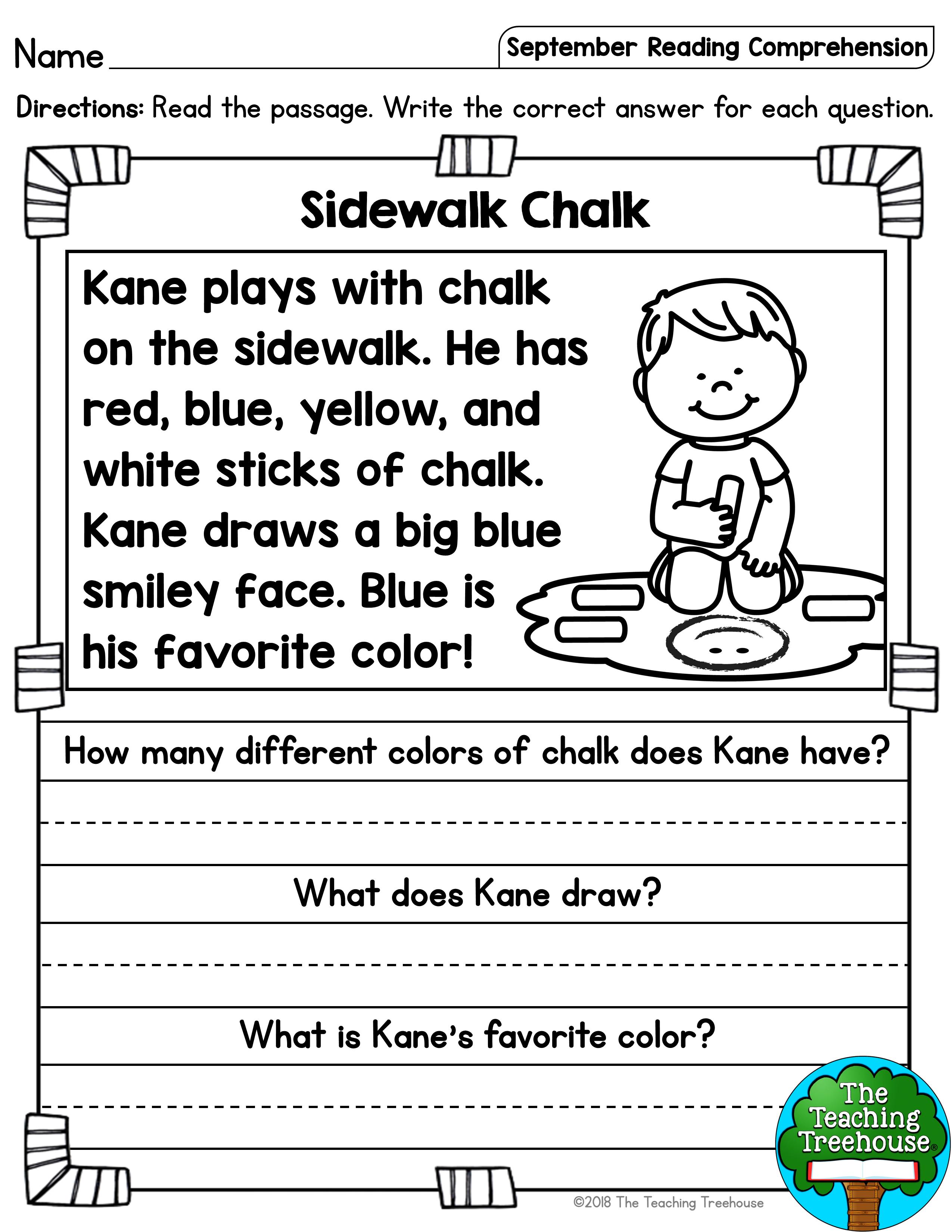 September Reading Comprehension Passages for Kindergarten and First Grade    Reading comprehension [ 3300 x 2550 Pixel ]