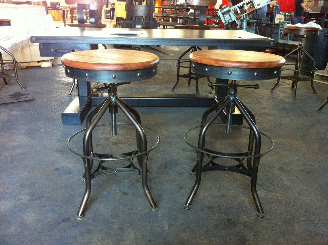 Antique Industrial Toledo Reproduction Bar Stool / Pub Or Drafting Chair.  $395.00, Via Etsy.