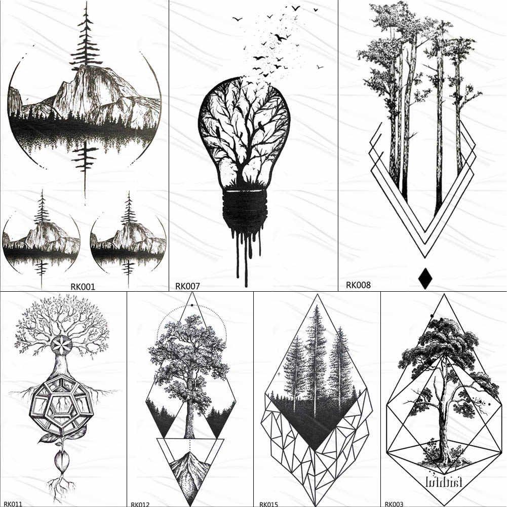 OMMGO Bulb Pine Tree Geometric Temporary Tattoos Sticker Diamond Round Custom Tattoo Body Art Fake Tatoos Black Small Forest