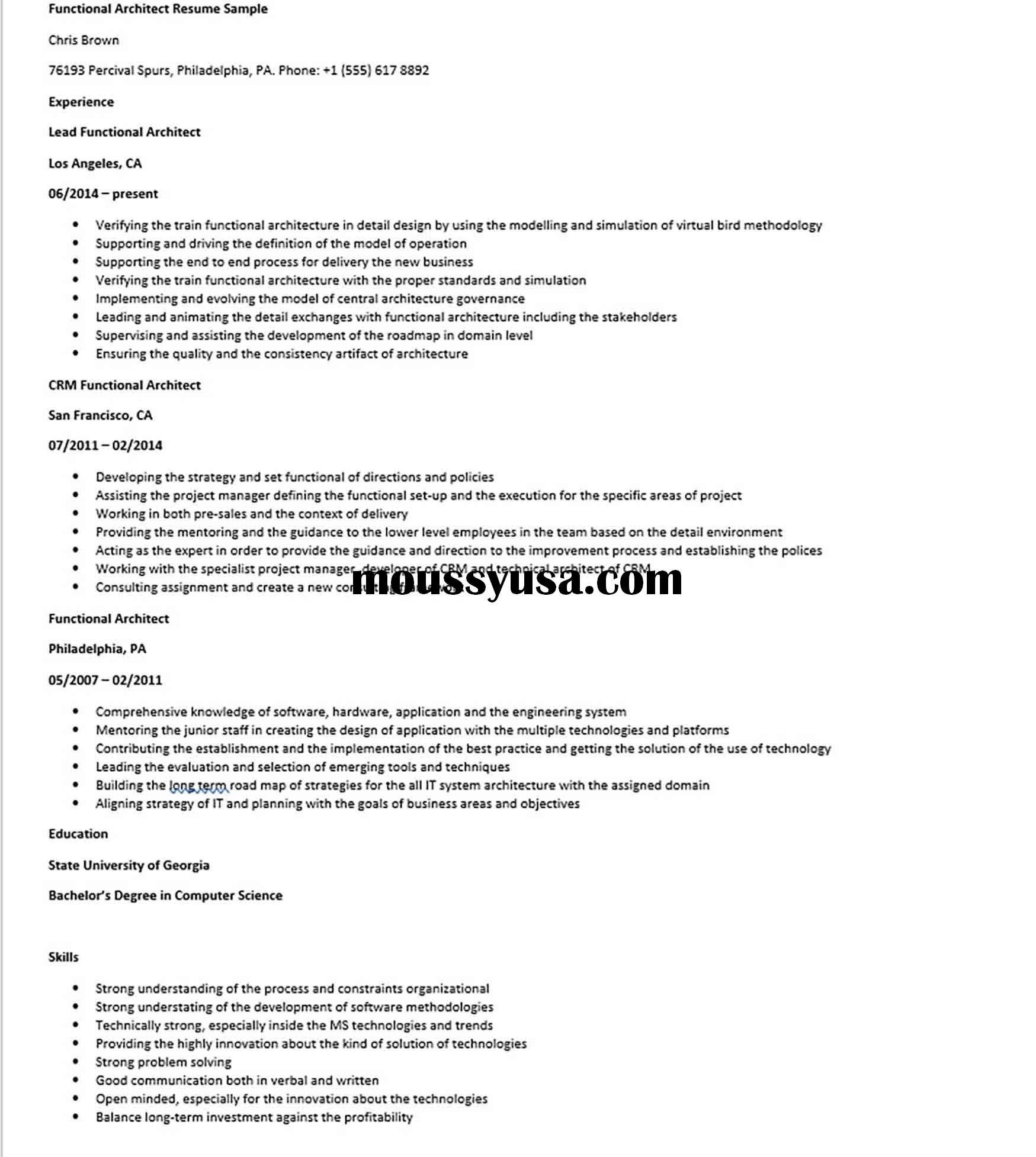 Functional Architect Resume Sample Architect Resume Sample Architect Resume Resume