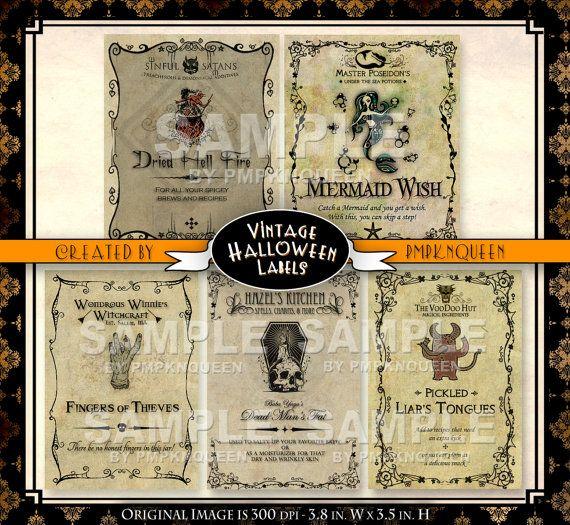 Wide Jar Halloween Label Set by FreakishlyAdorable on Etsy, $5.00