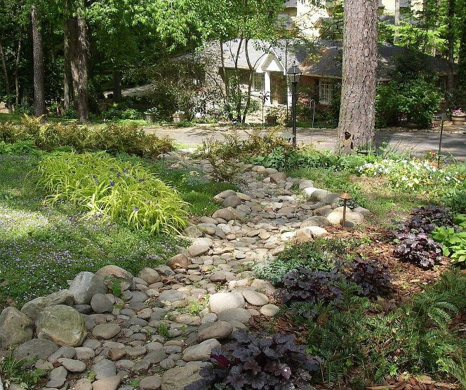 Dry Creek Bed Solves Drainage Problem From Street, Front