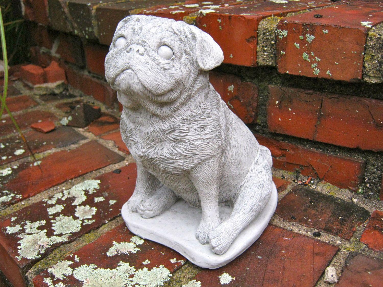 Pug Statue Concrete Cement Dog Figure, Cast Stone Pugs For Home Or Garden,  Pet