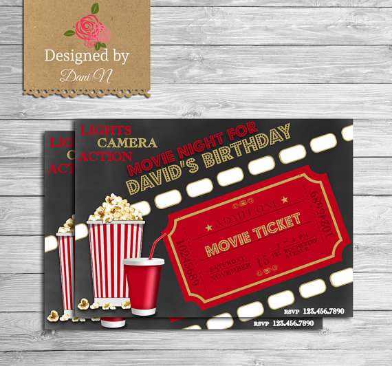 Movie birthday invitation, movie night party invite, outdoor