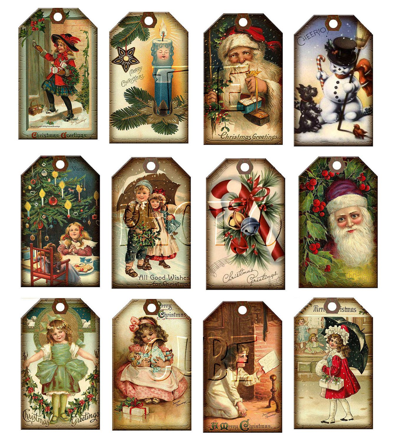 Free printable vintage christmas cards - Christmas Vintage Art Hang Gift Tags Santa Claus Candy Cane Candle Print Your Own Printable Digital Collage Sheet New Lower Price