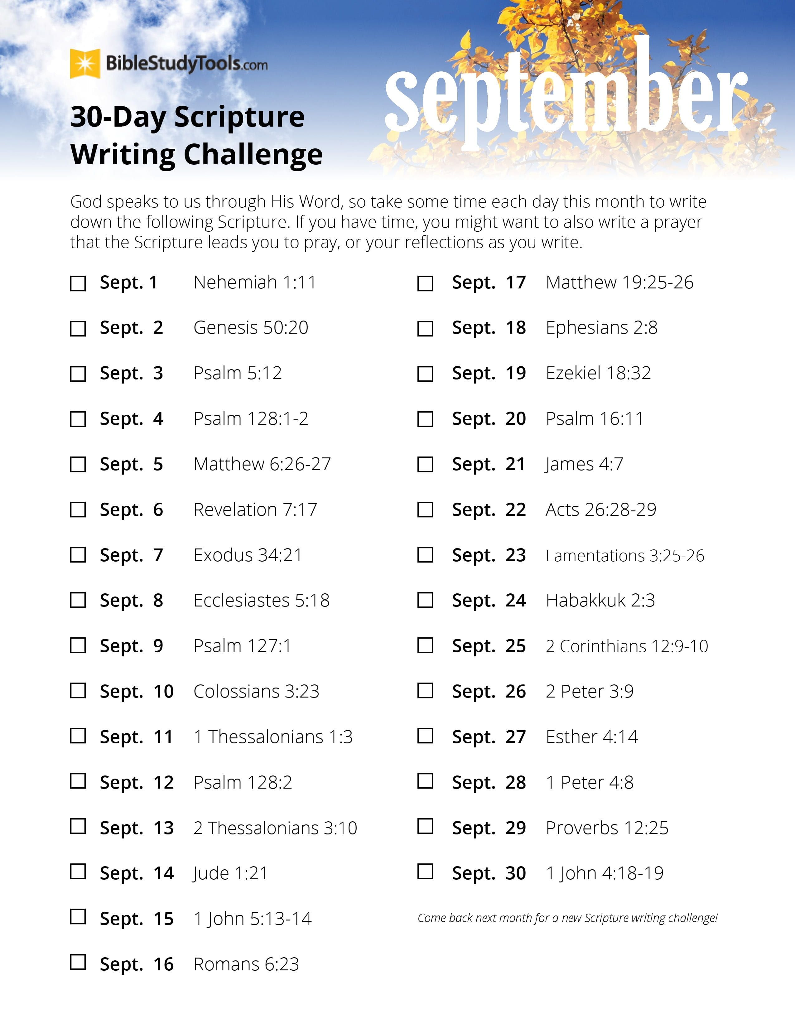 September 30 Day Scripture Writing Challenge Printable - Download Free