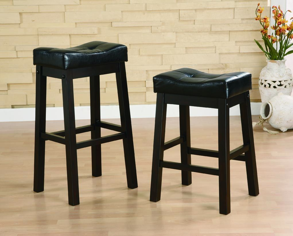 Transitional Dark Cherry Sofie Collection 2 Bar Stools By Coaster