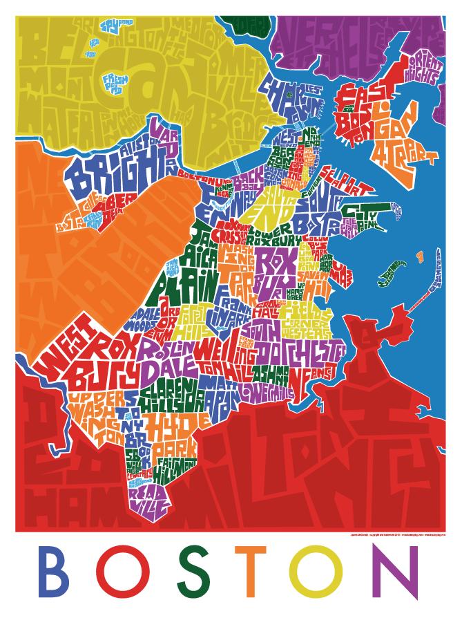 Boston Neighborhood Type Map | VISITER BOSTON | Boston map, Boston ...