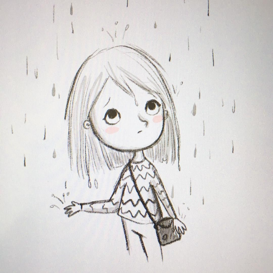 Quick doodle before heading out to the train rain doodle sketch kid girl cute drawing