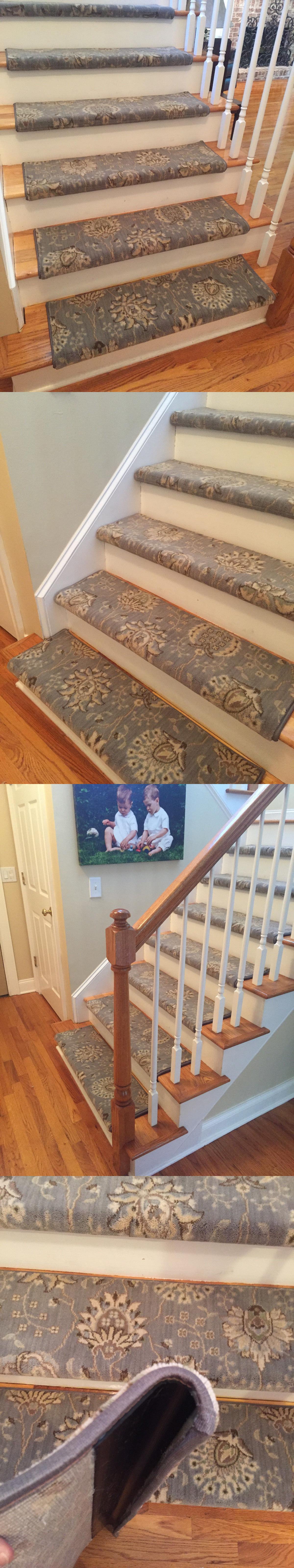 Best Stair Treads 175517 Blue Mist Custom Wool True Bullnose 400 x 300