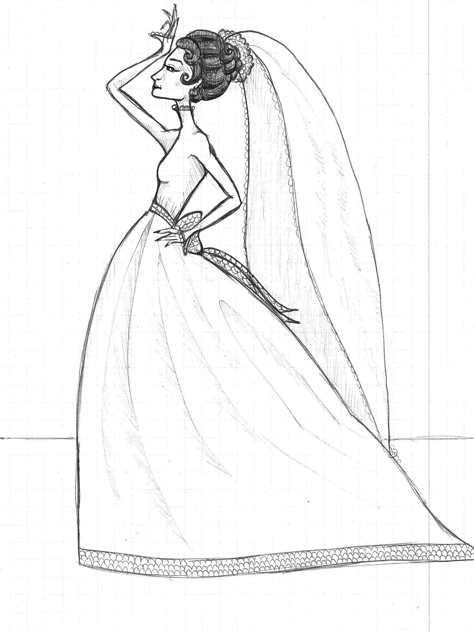 model drawing, wedding dress, sketch   Art by Anna Helena ...