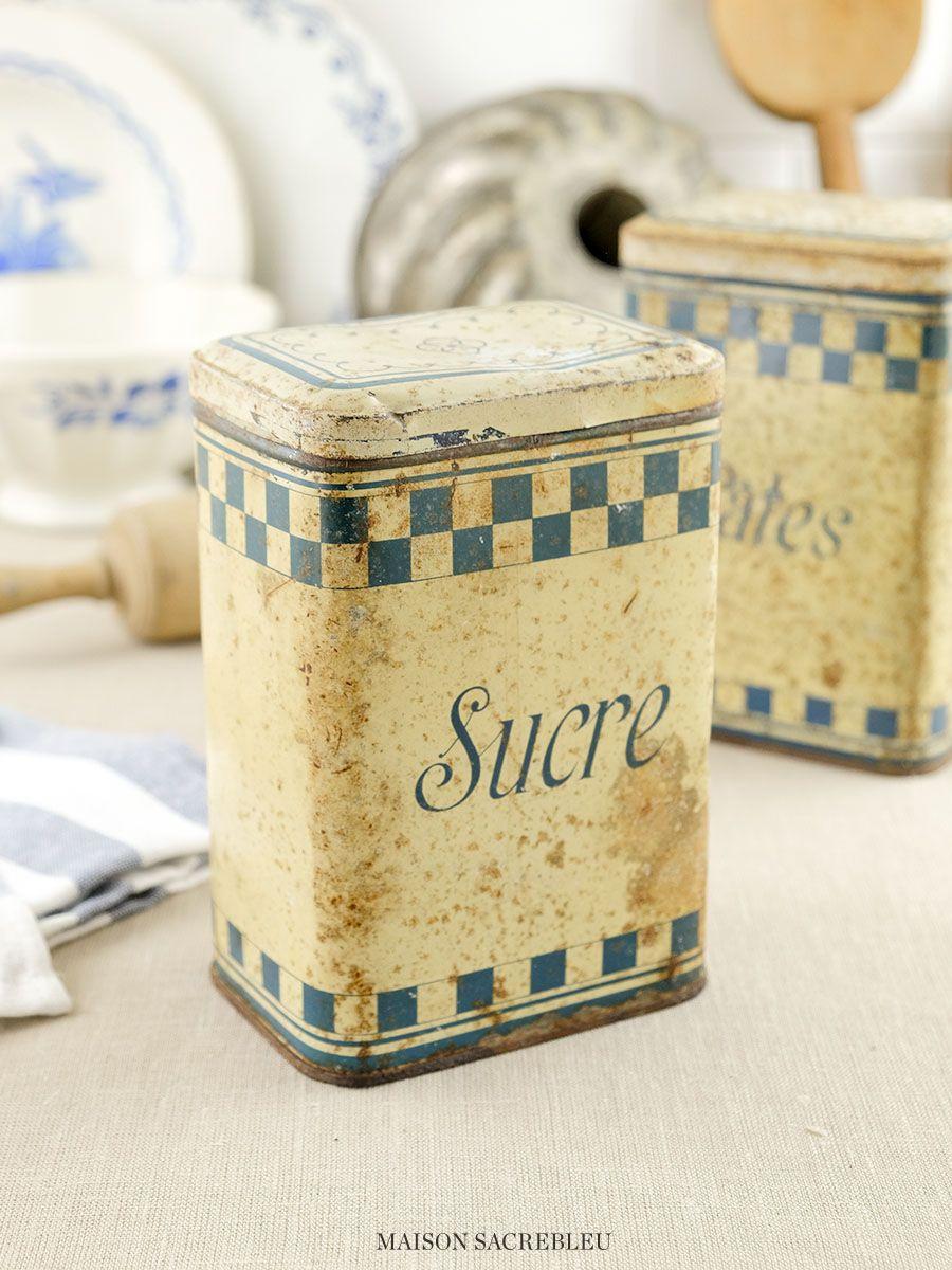 Maison Decor Tin Ceilings: Vintage French Tin Canister Set