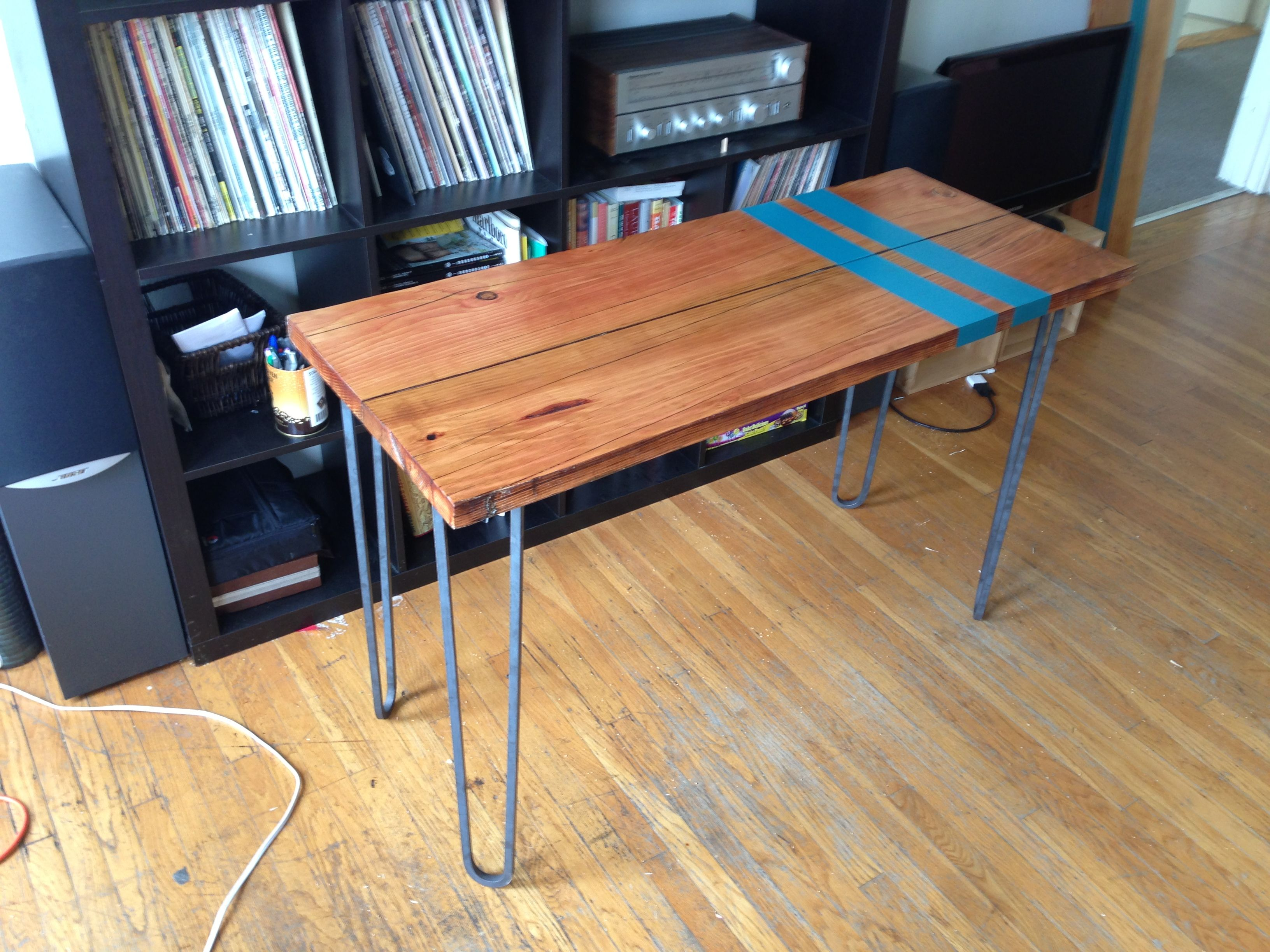 Kimi s Douglas Fir Kitchen Table with 3 Rod Hairpin Legs
