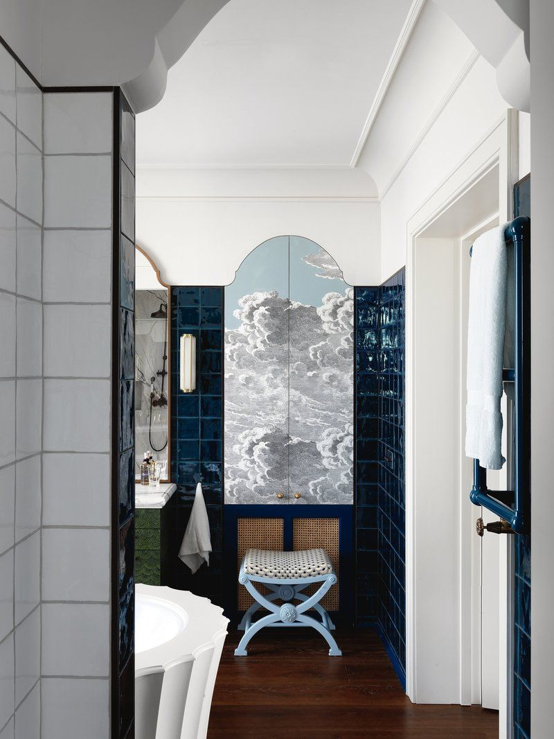 West London House, Master Bathroom Bath Architectural Details Colonial By  Beata Heuman Ltd