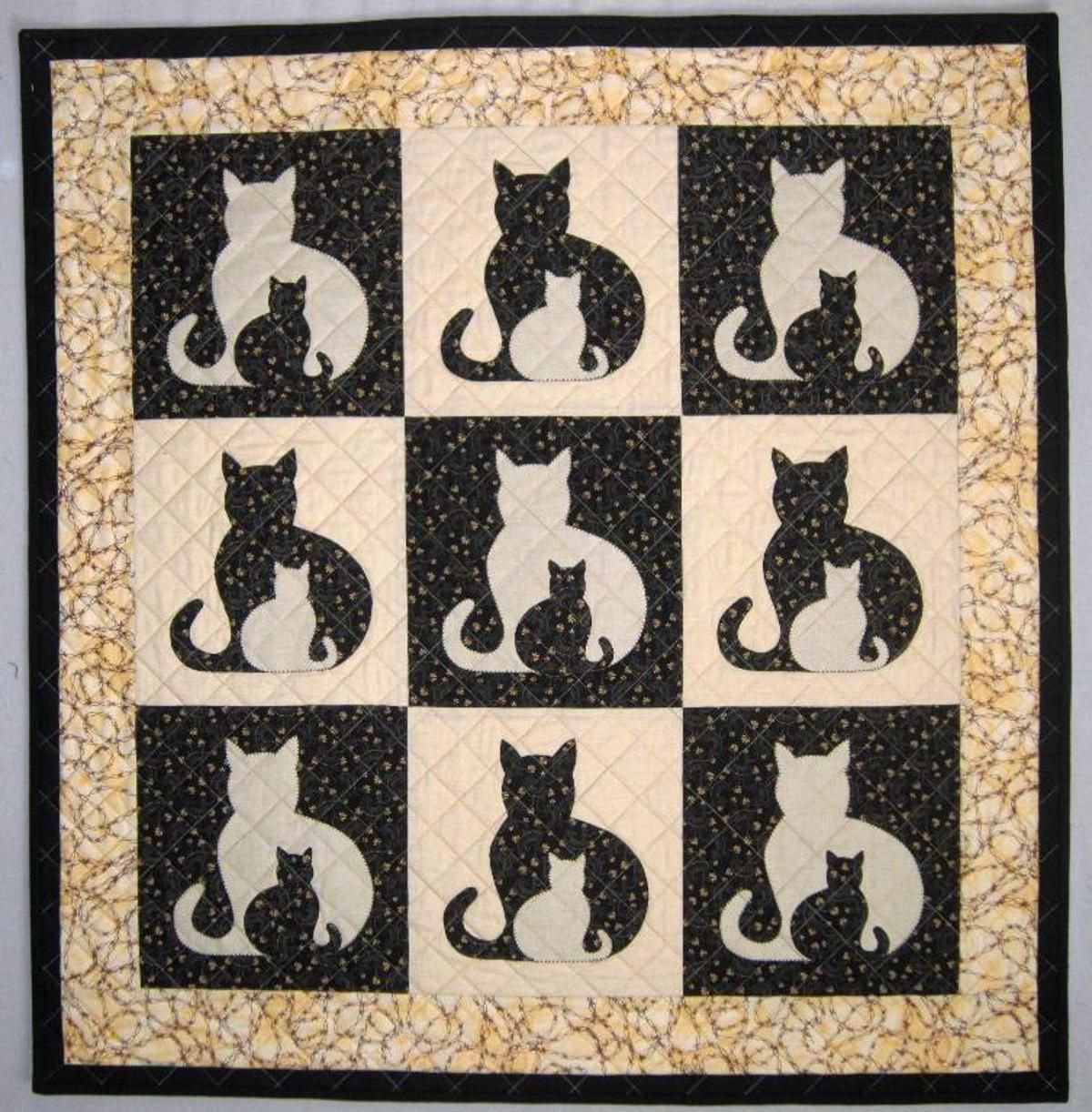 SIDEKICK Cat Applique Quilt, 5 sizes Cat quilt patterns