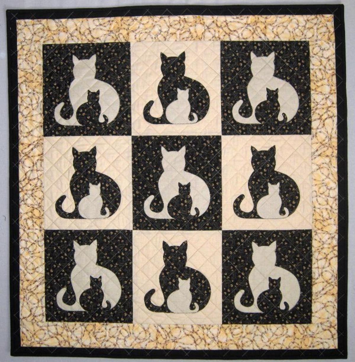 SIDEKICK Cat Applique Quilt, 5 sizes | Katzen quilt, Decken und Teppiche