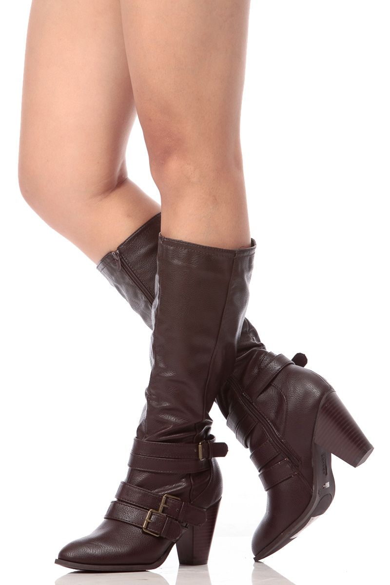 b6e5d49bea2c Brown Faux Leather Chunky Heel Boots   Cicihot Boots Catalog women s winter  boots
