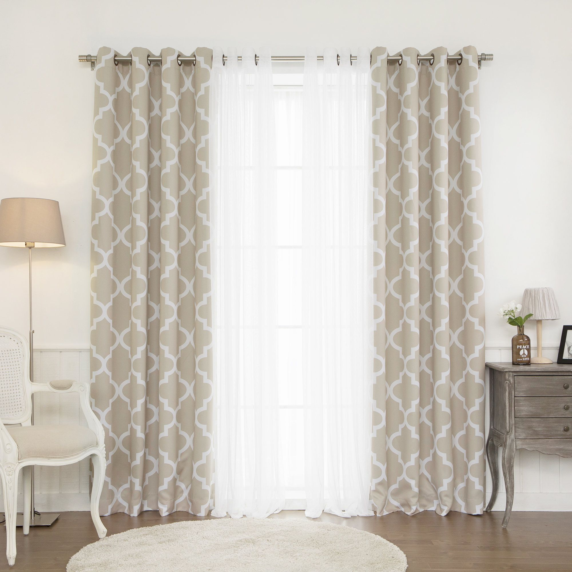 Linden Trellis Grommet Curtain Panel Living Room Decor Curtains