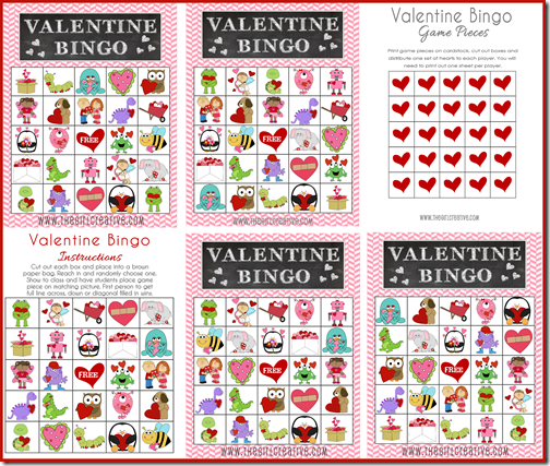 free valentines day bingo and treat toppers