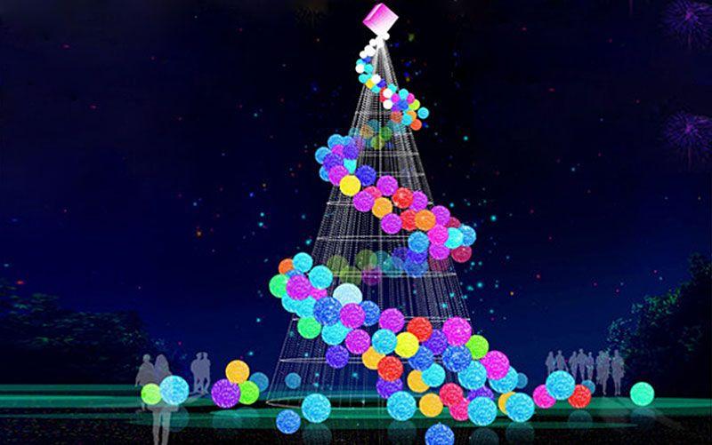 Colorful Modern Christmas Trees With Light Balls Modern Christmas Tree Big Christmas Tree Modern Christmas