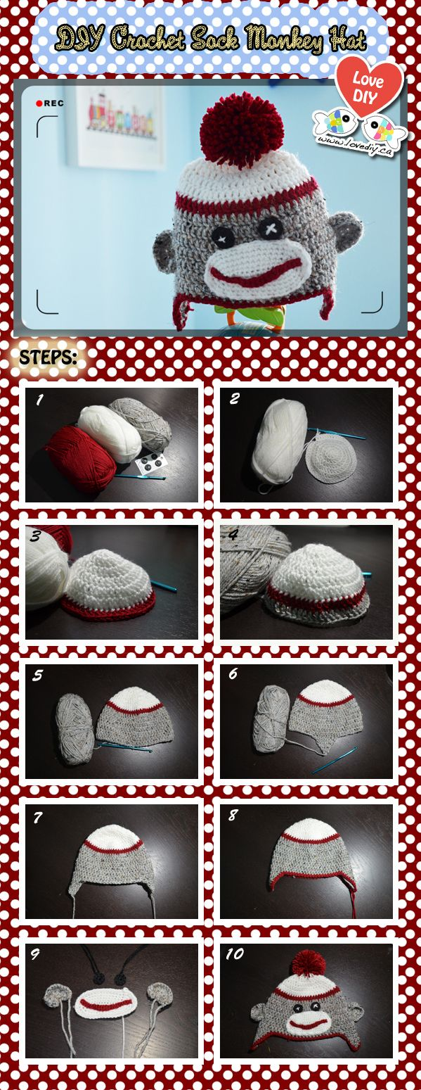 Photo tutorial not written instructions of a crochet sock monkey crochet tutorial crochet baby hat tutorial crochet sock monkey tutorial crochet hat diy should soo make for my lil sis who loves sock monkeys dt1010fo